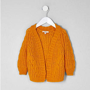 Mini girls yellow chunky cable knit cardigan