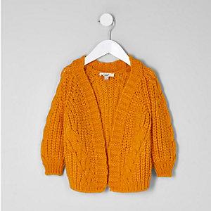 Mini - Geel grofgebreid vest met kabels voor meisjes