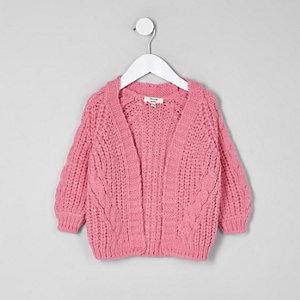 Mini - Roze gebreid kabelvest voor meisjes