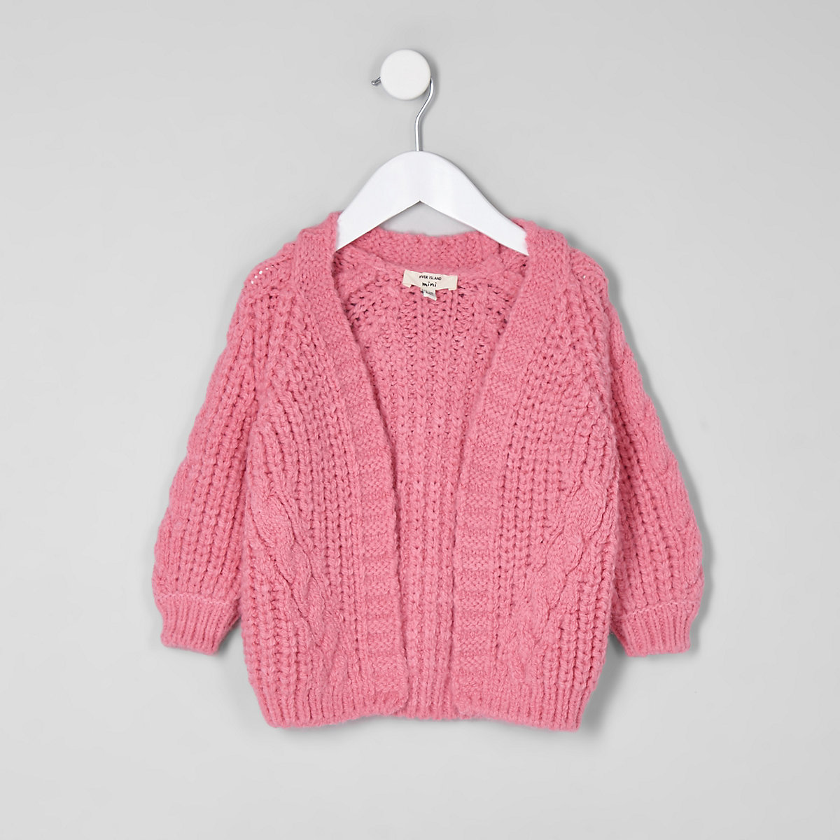 Mini girls pink chunky cable knit cardigan
