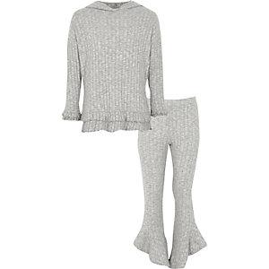 Outfit met grijze geribbelde hoodie met ruches voor meisjes