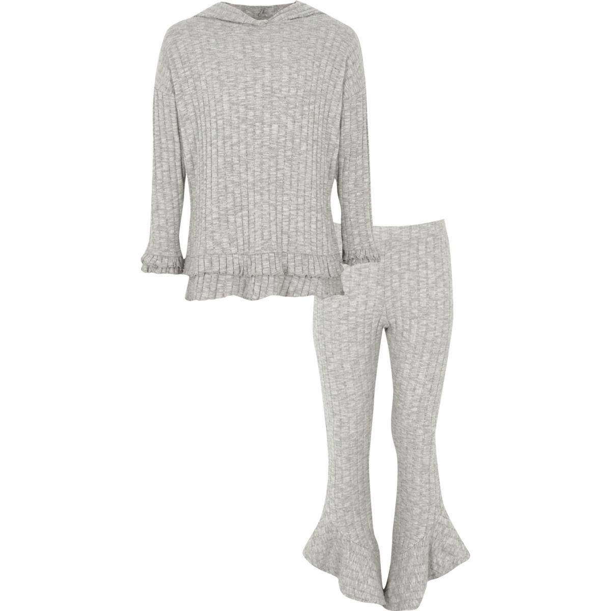 Girls grey rib frill trim hoodie outfit