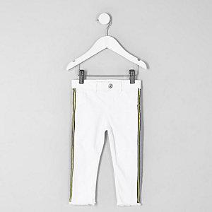 Jean blanc à ourlet effiloché avec bande latérale mini fille