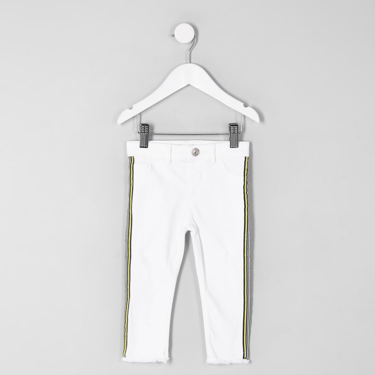 Mini girls white side stripe frayed hem jeans