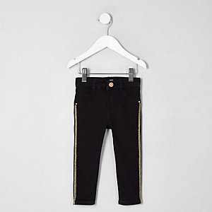 Mini girls black Molly stripe skinny jeans