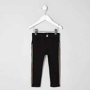 Mini - Molly - Zwarte skinny jeans met streep voor meisjes