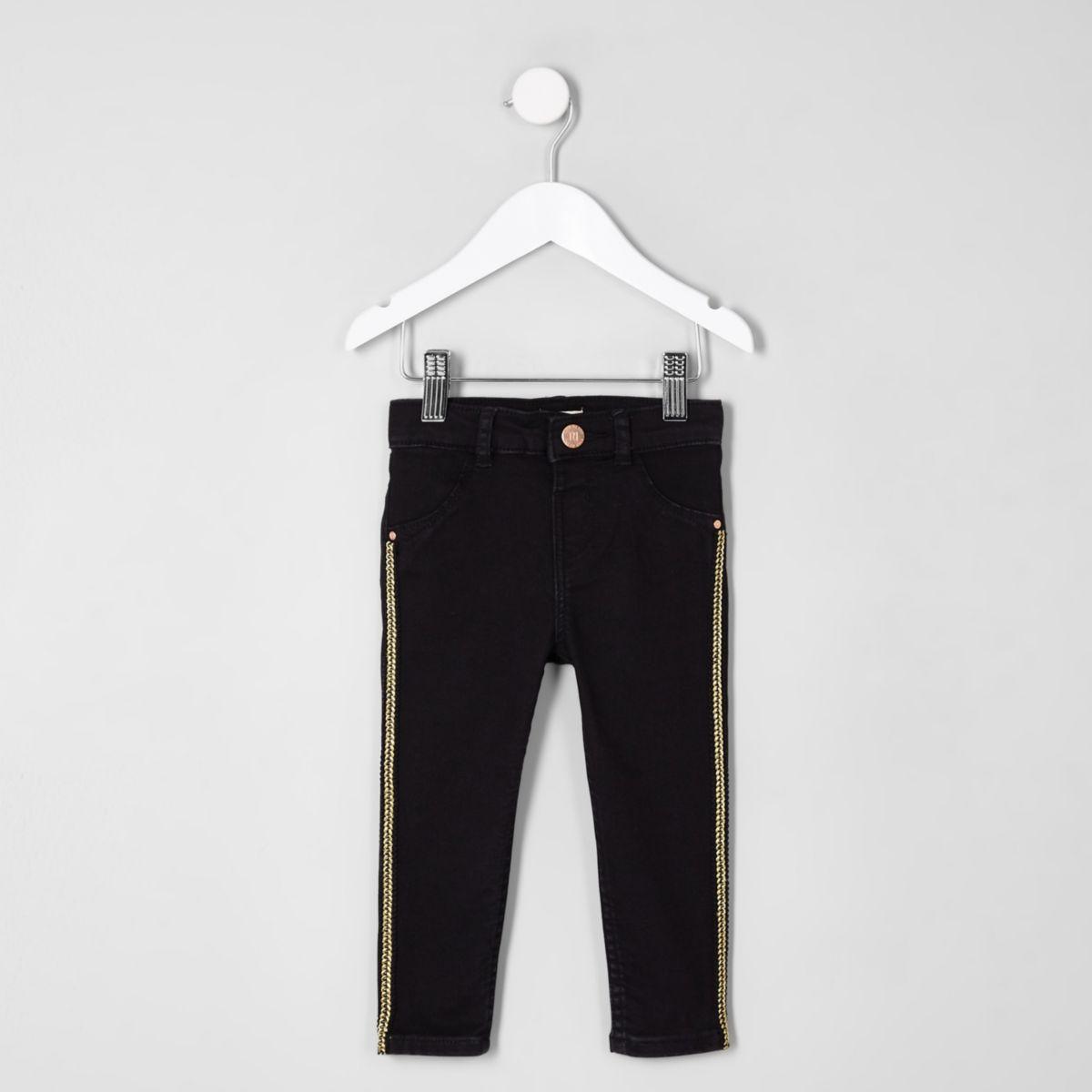 Mini girls black Molly stripe skinny jeans