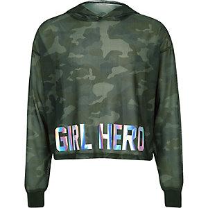 Sweat à capuche court en maille motif camouflage kaki pour fille
