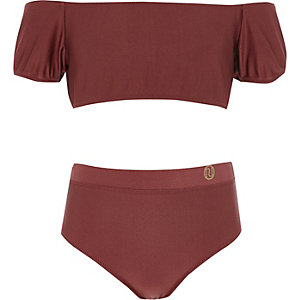 Girls dark red puff sleeve bardot bikini