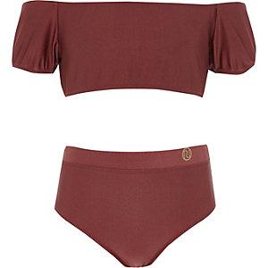 Bikini Bardot rouge foncé à manches bouffantes pour fille