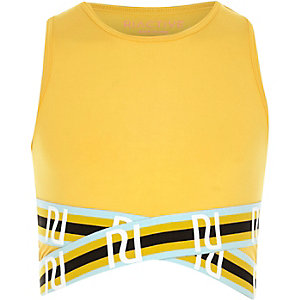 Girls RI Active yellow elastic crop top