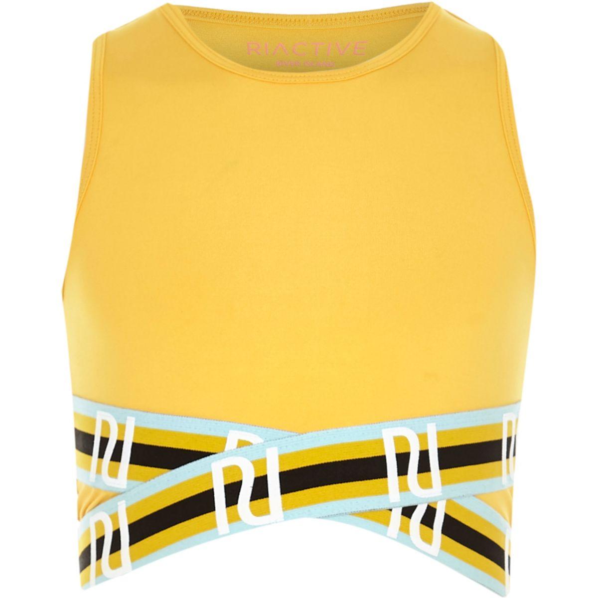 Girls RI Active yellow elastic crop top