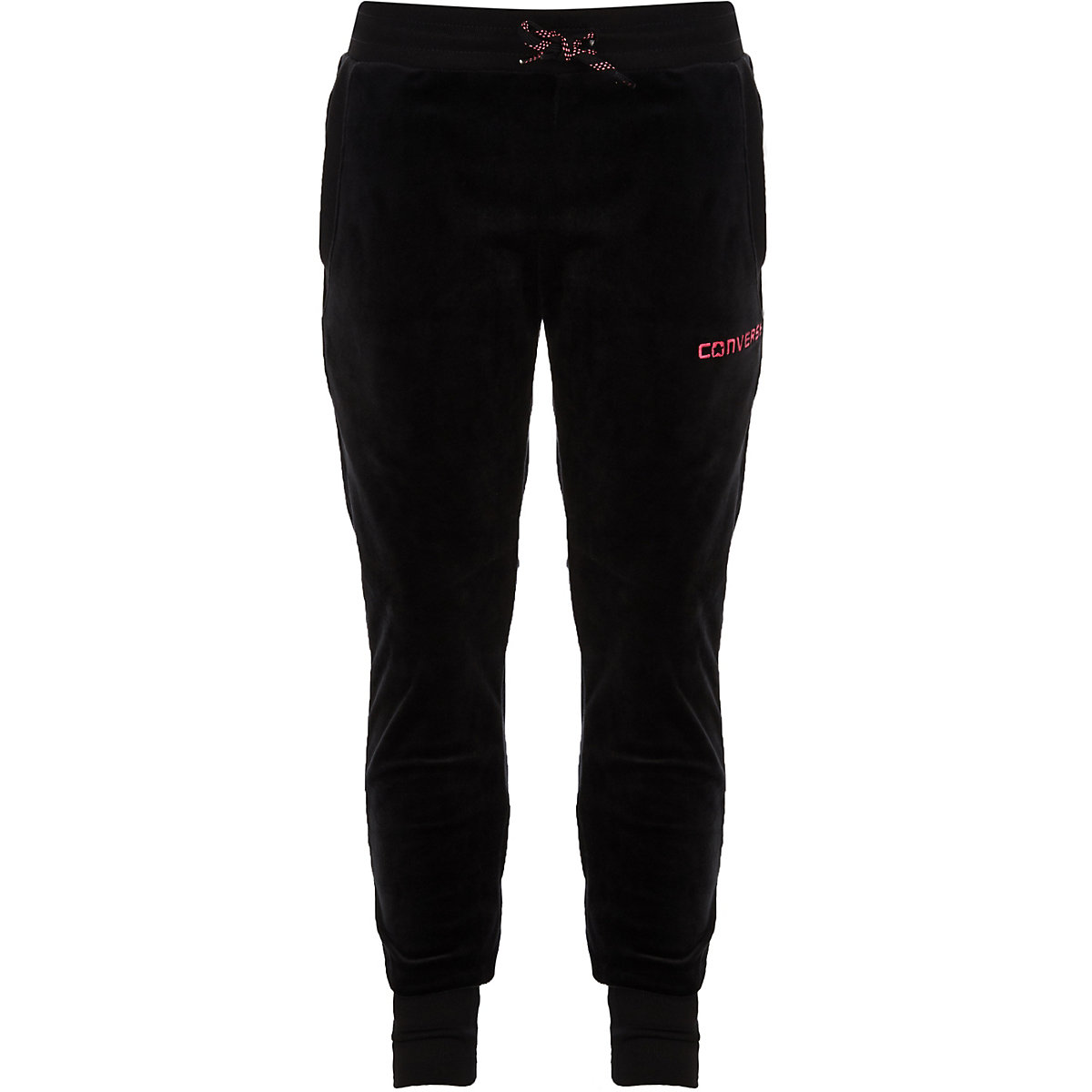 Girls Converse black velour joggers