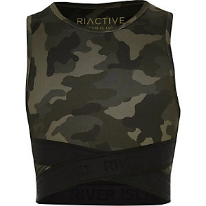 RI Active – Khaki Crop Top mit Camouflage