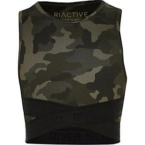RI Active – Crop top élastique camouflage kaki pour fille