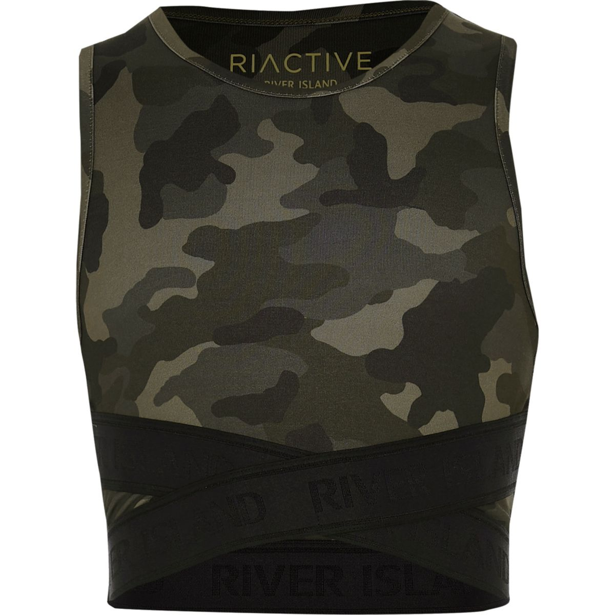 Girls RI Active khaki camo elastic crop top