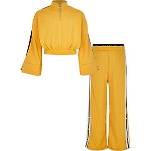 Survêtement court jaune à manches larges pour fille