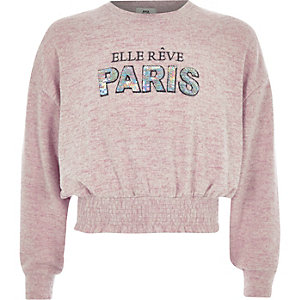 Girls pink 'paris' cropped sweatshirt