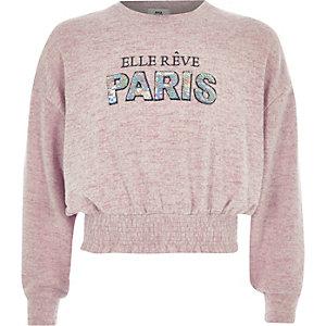 Roze cropped sweatshirt met 'paris'-print voor meisjes