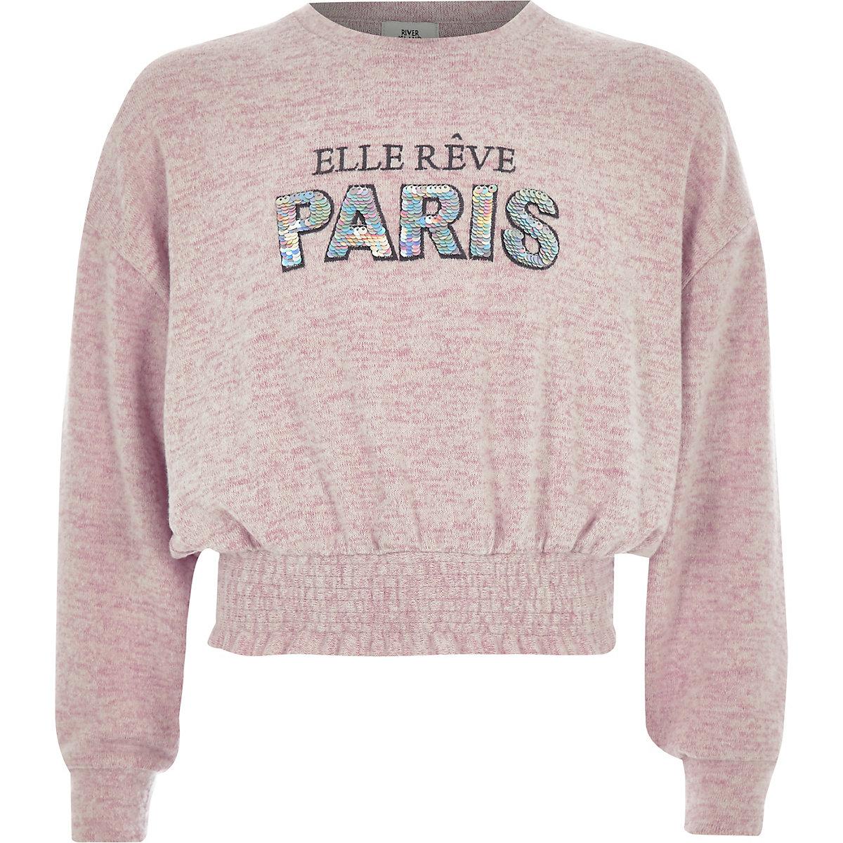 Girls pink 'paris' cropped sweatshirt