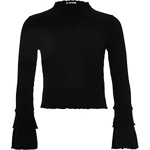 Girls black rib frill long sleeve top