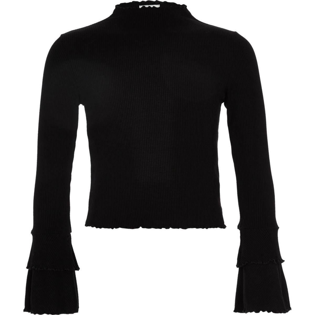Girls black rib frill long sleeve top