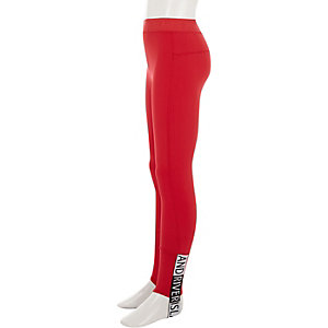 Girls red RI Active stirrup leggings