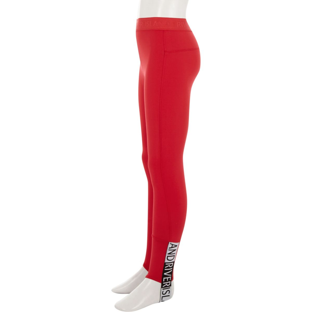 Girls red RI stirrup leggings