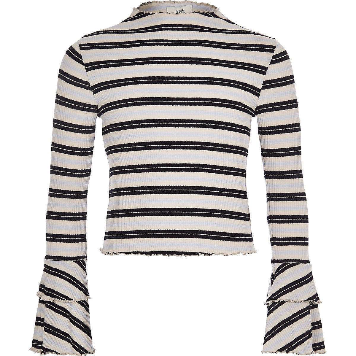 Girls white stripe rib frill long sleeve top
