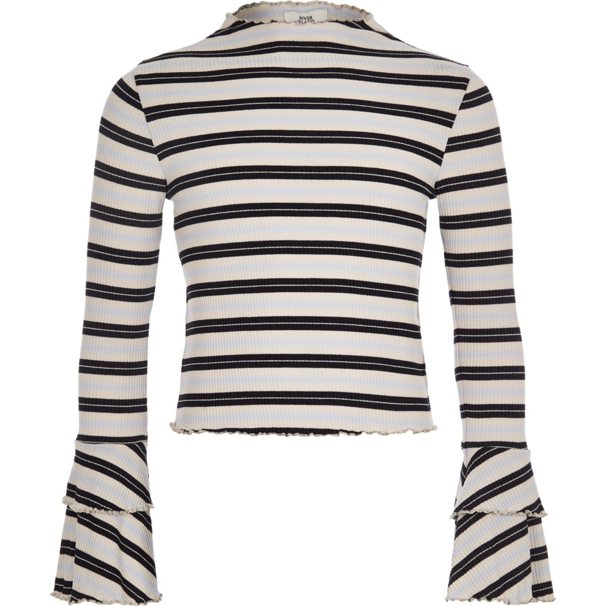 Girls white stripe rib frill long sleeve top