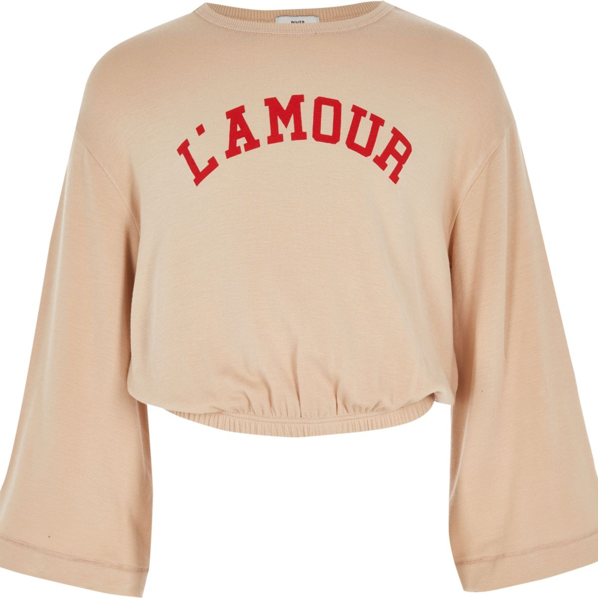 Girls cream 'l'amour' long sleeve top