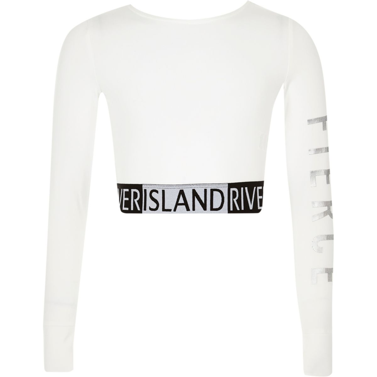 Girls RI Active white 'fierce' cropped top