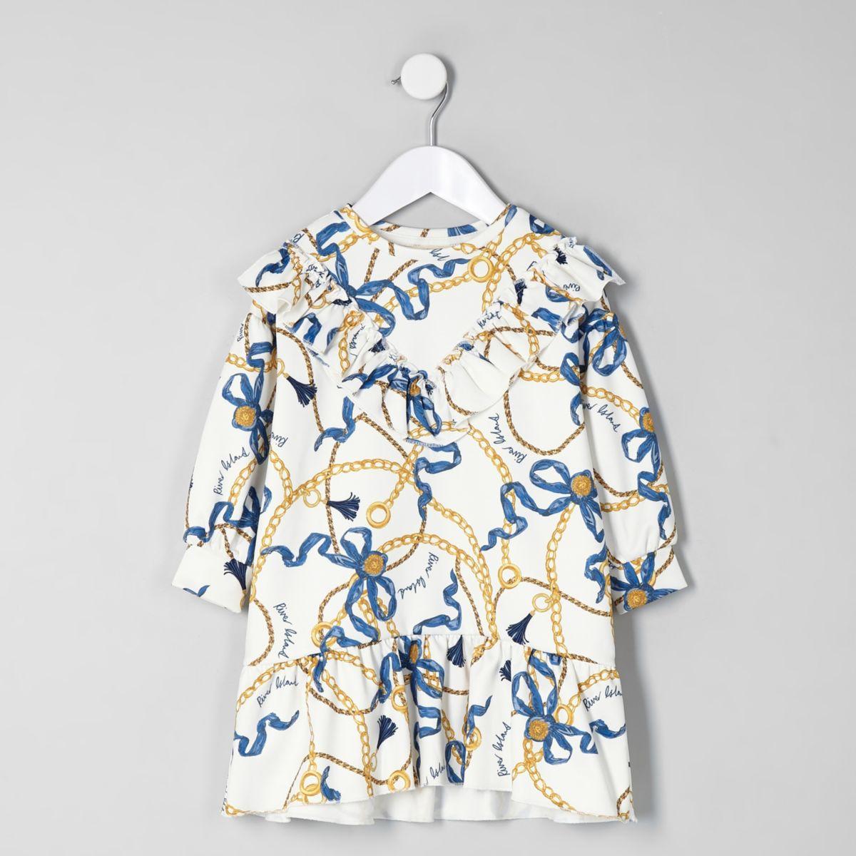 Mini girls cream chain peplum hem dress