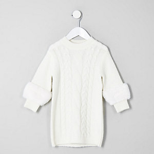 Mini girls cream faux fur sleeve jumper dress