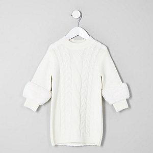 Mini - Crème trui-jurk met imitatiebont op de mouwen voor meisjes