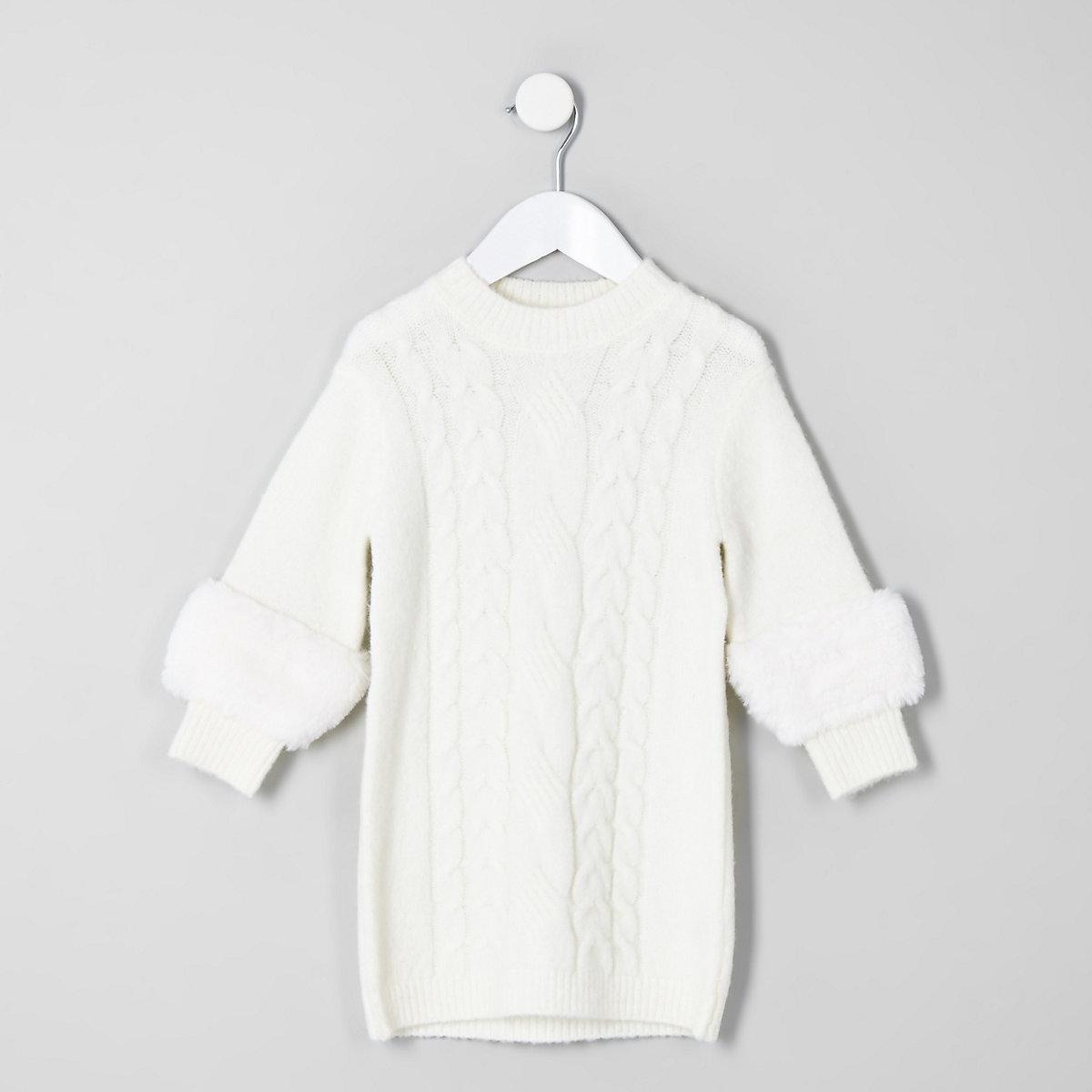 Mini girls cream faux fur sleeve sweater dress