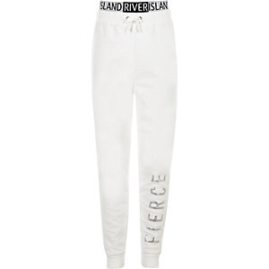 Girls RI Active white 'fierce' print joggers