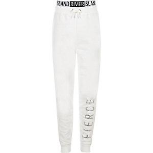 RI Active - Witte joggingbroek met 'fierce'-print voor meisjes