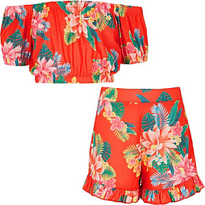 Girls red tropical print bardot outfit
