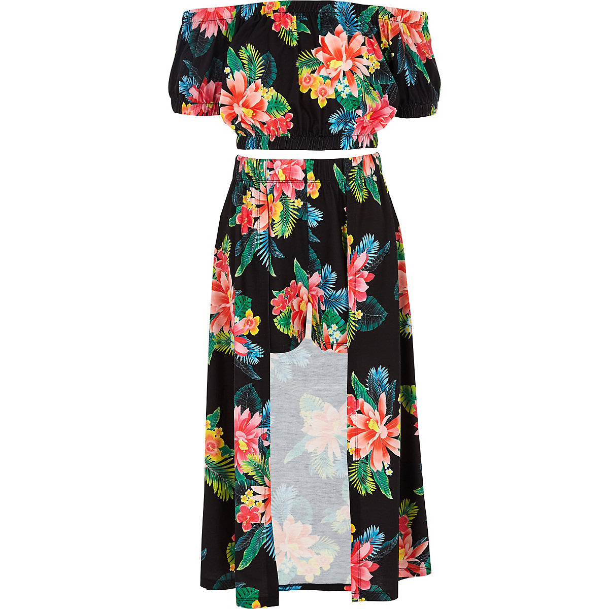 Girls black floral bardot crop top outfit