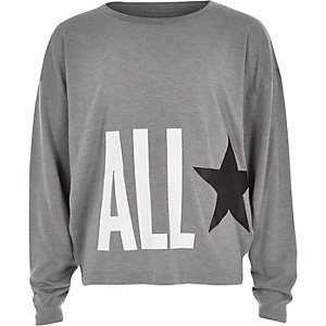 Girls Converse light grey oversized star top