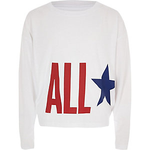 Girls Converse white 'All Star' print top