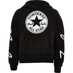 Converse - Zwarte cropped hoodie voor meisjes