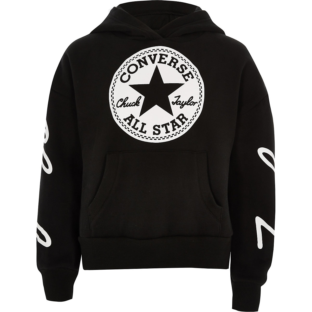 Girls Converse black cropped hoodie