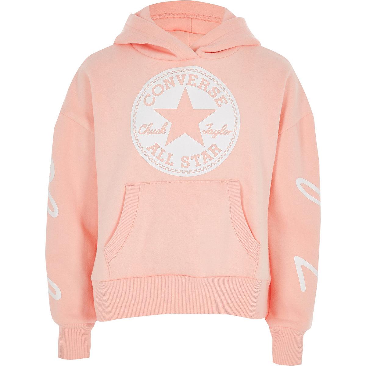Girls Converse pink cropped hoodie