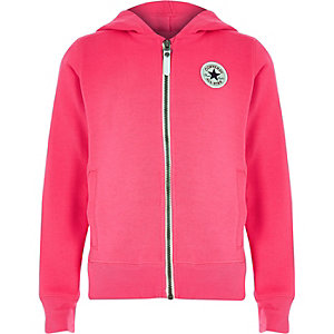 Girls Converse pink zip up tracksuit hoodie