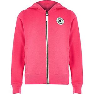 f08189755a724 Converse – Sweat à capuche rose zippé pour fille