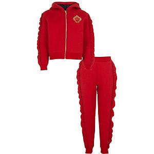 Outfit met rode hoodie met diamantjes en ruches voor meisjes