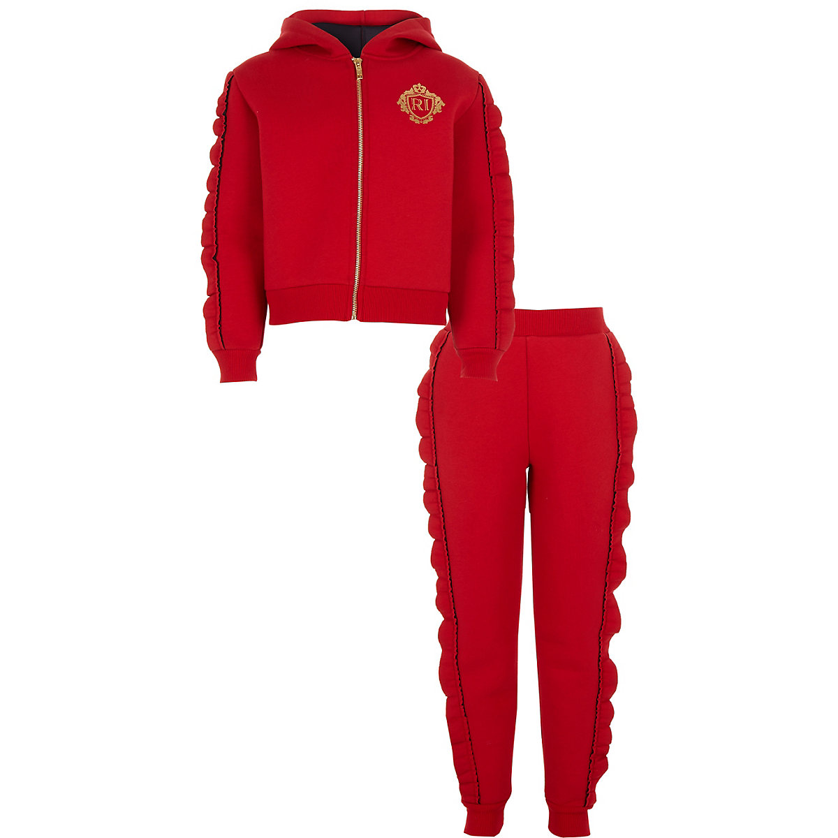 Girls red diamante frill hoodie outfit