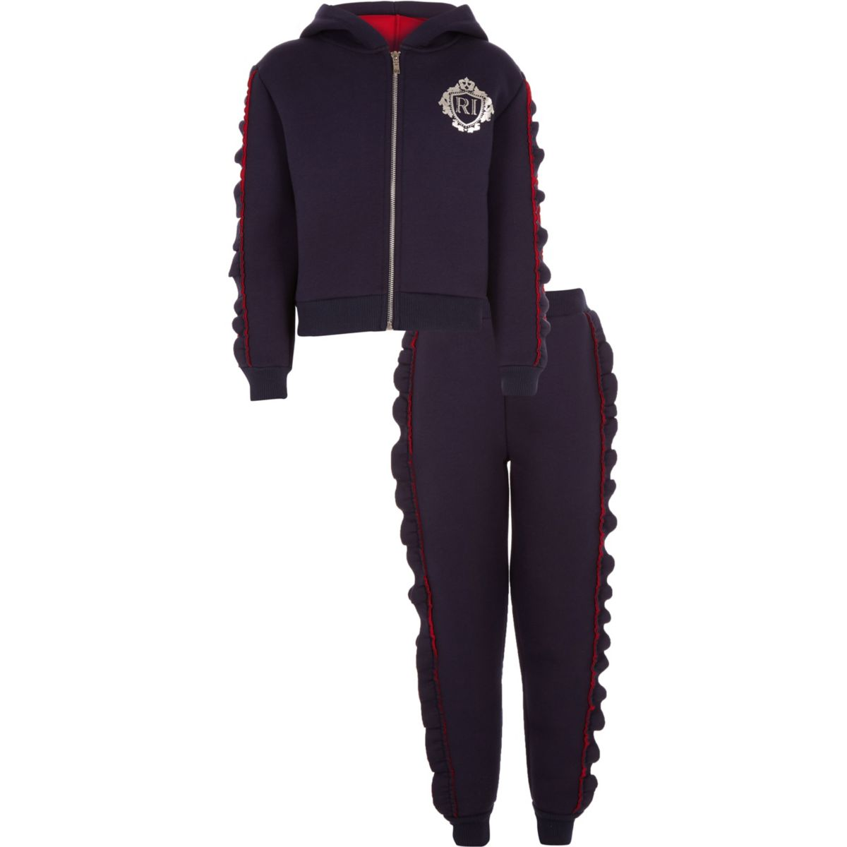Girls rhinestone frill hoodie outfit